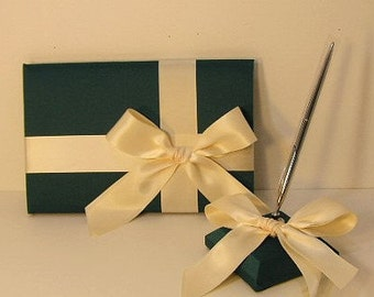 Wedding Guest Book Hunter Green/Teal Green and Ivory and pen holder set -made to order ,Custom Made