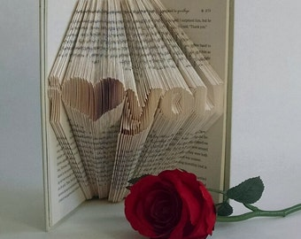 Book Lover Gift, Book Art, I love you gift