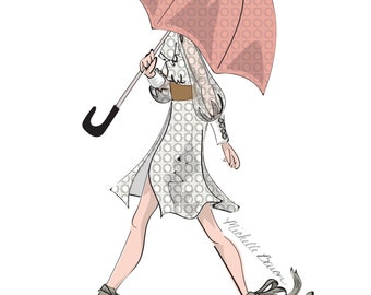 Fashion Illustration, April Showers, Fashion Wall Art, Girl with umbrella art print