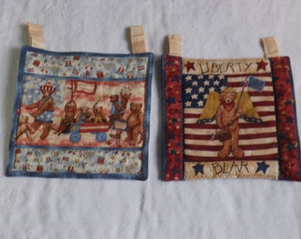 Quilted wall hangings featuring USA patriotic bear family parade and Liberty Bear