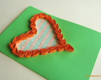 Love Heart Quilling Card, Valentine's Day Card, Heart Greeting Card, I love you card, Mother's Day Card