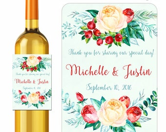 Custom Wedding Wine Labels Personalized Floral Laurel Wreath Bouquet Design Stickers Roses and Berries Flowers Waterproof Vinyl 3.5 x 5 inch