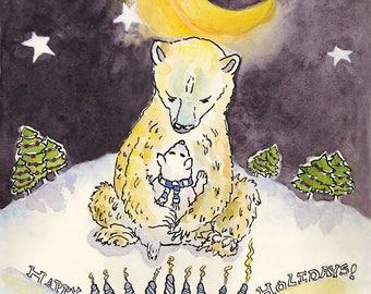 Bear Hugs Holiday Greeting Card, by Michelle Kogan, Hanukkah, Christmas, Watercolor, Art & Collectibles, Children's Art, Illustration