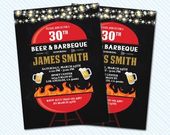 Digital Printable Adult Birthday Invitation Beer And BBQ Invite Any Age 50th 30th Barbecue Night