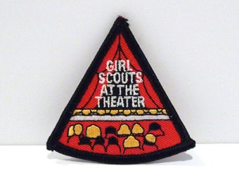 Theater Patch Vintage Girl Scout Fun Patch Audience Auditorium Curtained Stage Embroidered patch 1990s Embroidery Scouting Patch Performance