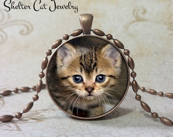 "Tiny Tabby Kitten Pendant 1-1/4"" Round Pendant Necklace or Key Ring - Handmade Wearable Shelter Cats Photo Art Jewelry"