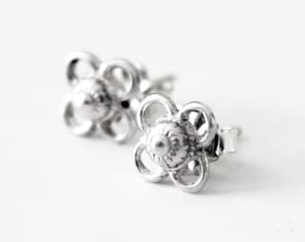 Filigree Stud Earrings - Sterling Silver - 925 - Silver studs - Bridesmaids - Simple - Victorian - Classic - Classy - Post Earring - Bridal