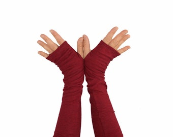 Arm Warmers in Red Wine - Heather Red - Slouch Style - Cotton Fingerless Gloves - Sleeves