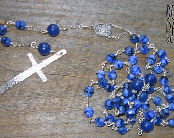 Blueberry Rosary, Rosary, Blue Rosary, Long Rosary, Prayer Beads, Blue Jade, Lapis Lazuli, Meditation, Sterling Cross, Cross, Silver