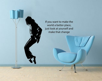 Michael Jackson image and Lyric Vinyl Wallart