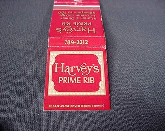 Harvey's Prime Rib * Westmont Il. * Vintage Old Collectible * Match Book Cover * Restaurant *