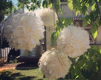 Lace Balls for garden weddings