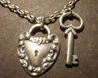 Heart Lock and Key Necklace in Antique Silver