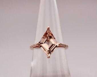14K Rose Gold Morganite Diamond Ring