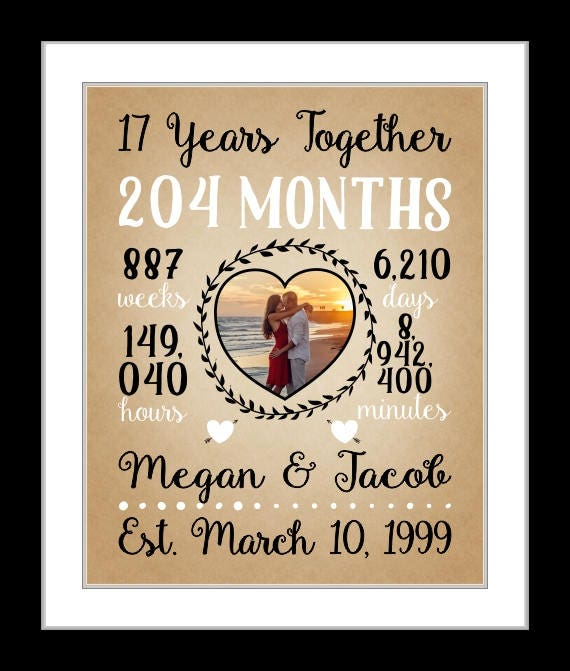 17th Anniversary Gift For Wife: 1 17th Wedding Anniversary 17 Years Together Anniversary