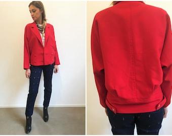 90s red blazer jacket, doublebreasted blazer jacket, red jacket woman, red wool jacket 90s, red vintage jacket