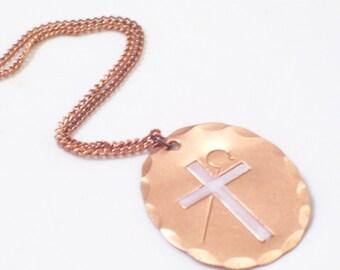 Vintage Copper Religious Cross Pendant Necklace