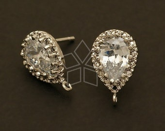 SI-378-OR // 2 Pcs - Pear Cut CZ  Earrings, Silver Plated, with .925 Sterling Silver Post / 9mm x 14mm