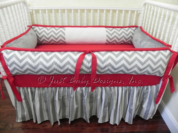 Custom Crib Bedding Set Alex Boy Crib Bedding Gray Amp Red