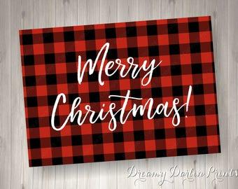 Buffalo Plaid Merry Christmas Printable, 5x7, .JPG, Instant Download!