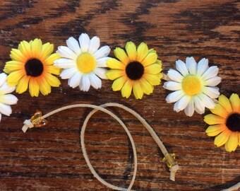 Sunflower and Daisy Bohemian Headband