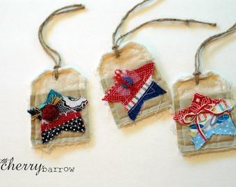 Americana Shabby Cloth Gift Tags