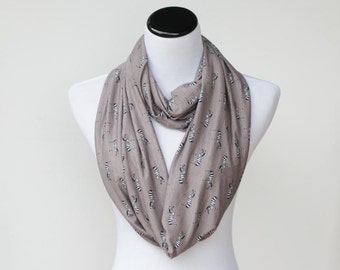 Gray Scarf, Infinity Scarf Zebra Print Loop Scarf cute gray taupe soft jersey knit scarf -  circle scarf gift for girl, gift for mom