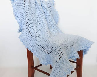 Crochet Baby Blanket Blue Heirloom Afghan - Baby Gift, Nursery Decor, Crib Bedding Blanket, Newborn Baby Boy, Baby Accessories, Lap Afghan