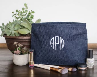 Gift for Her Personalized, Birthday Gift Zippered Cosmetic Bags, Monogrammed Makeup Bags, Best Make Up Bag, Custom Gift for Her 531908591