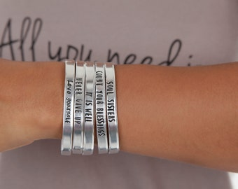 Never Give Up - It Is Well - Mantra Bracelets - Hand Stamped Bracelets - Soul Sisters - It Is Well - Expressions Bracelets Under 15