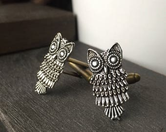 Cute Owl, Owl, Owl Cufflinks, Antique Silver Owl, Silver Owl Cufflinks, Owl Cuff Links Steampunk Vintage Inspired