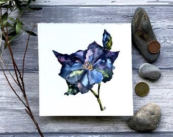 original floral watercolor painting gray blue  wild flower grey artwork wall art relaxing botanical art small elegant aquarelle