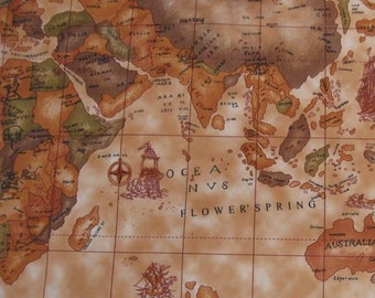 Old map fabric etsy studio 3060 1 yard vinyl waterproof fabric old world map brown 57x36 gumiabroncs Choice Image