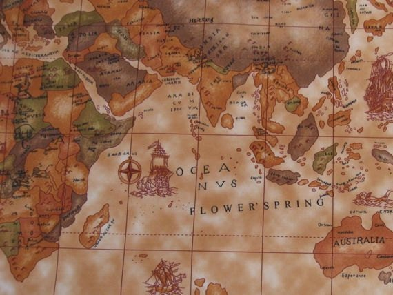 3060 1 yard vinyl waterproof fabric old world map brown like this item gumiabroncs Gallery