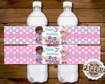 Daisy duck birthday invitation polka dot and chevron daisy doc mcstuffins birthday party water bottle label party favor doc mcstuffins party decorations diy solutioingenieria Gallery