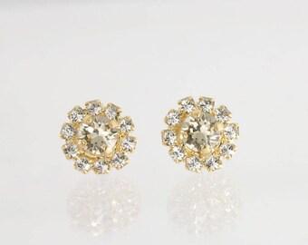 Mini halo stud earrings,small crystal earrings,tiny earrings,flower girl earrings,Swarovski Light Silk,swarovski earrings,gold earrings,stud