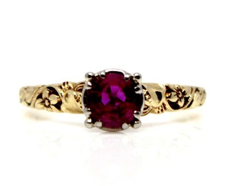14k Yellow Gold and Platinum Art Deco Ruby VIntage Ring