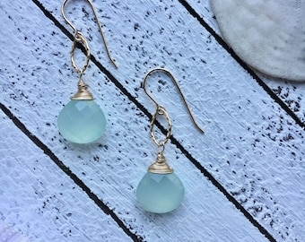 Light Blue Chalcedony and Gold Fill Earrings