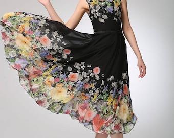 floral dress women, sleeveless dress, printed dress, prom dress, maxi dress, swing dress, party dress, fitted waist dress, gift idea 1250