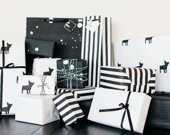 Luxury Black and White Striped Gift Bag (Set of 3)