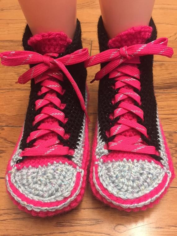 8 converse top 277 converse List pink shoe crochet converse high slippers crocheted sneaker tennis Womens 10 converse Crocheted slippers SHYZ5wSq