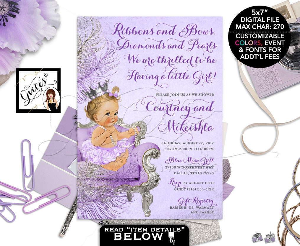 Lavender Silver and purple baby shower invitation, princess baby ...