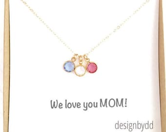 Birthstone Charm Necklace, Mom Necklace, Children Birthstones, Gift For Mom, New Mom Gift, Mother's Day Gift