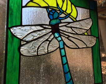 """Dragonfly Stained Glass 10"""" x 11"""""""
