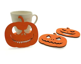 Halloween Coaster Set, Halloween Decor Wood Drink Coasters, Halloween wood Pumpkin Coasters