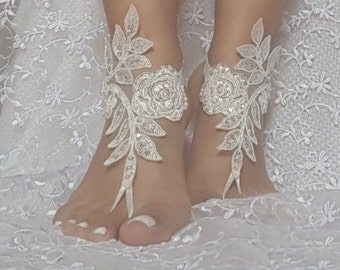 Beach wedding shoes etsy ivory barefoot sandals french lace nude shoes gothic wedding sandals beaded pearl beach wedding shoe bridal junglespirit Images