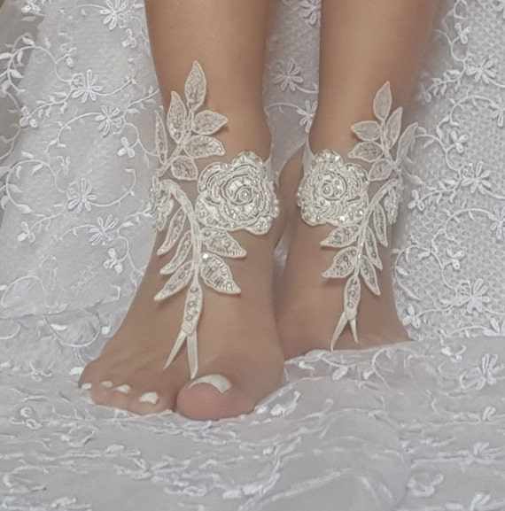 ivory Barefoot Sandals french lace Nude shoes Gothic wedding sandals beaded pearl beach wedding shoe bridal shoes