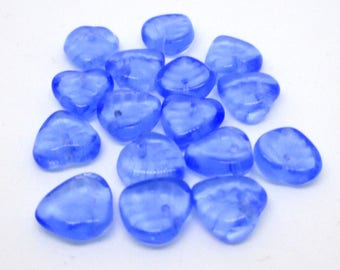 20 - 10 x 9mm - Small Leaf Beads - Transparent Sapphire Czech Pressed Glass, Top Drilled