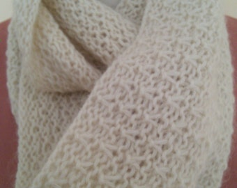 Hand Knit Lacy Infinity Scarf/Cowl in Soft White Wool and Mohair