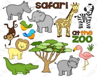 Zoo Safari Hand Drawn Digital Clipart - Set of 15 - Elephant Zebra Giraffe Monkey Lion Hippo Rhino Flamingo - Instant Download - Item #9166